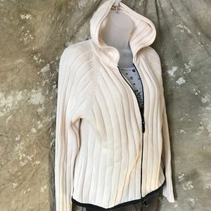 Hooded, zip close, cardigan, size L